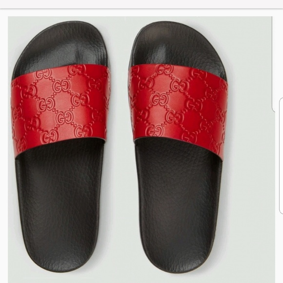 5ef3737b8 Gucci Shoes - 🔴FINAL PRICE🔴 Gucci Hibiscus Red Slides Sz.9 39